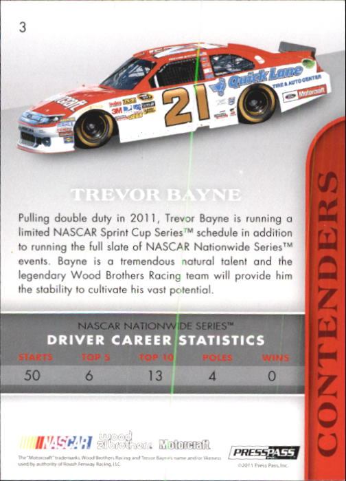 2011 Press Pass Premium #3A Trevor Bayne CRC back image