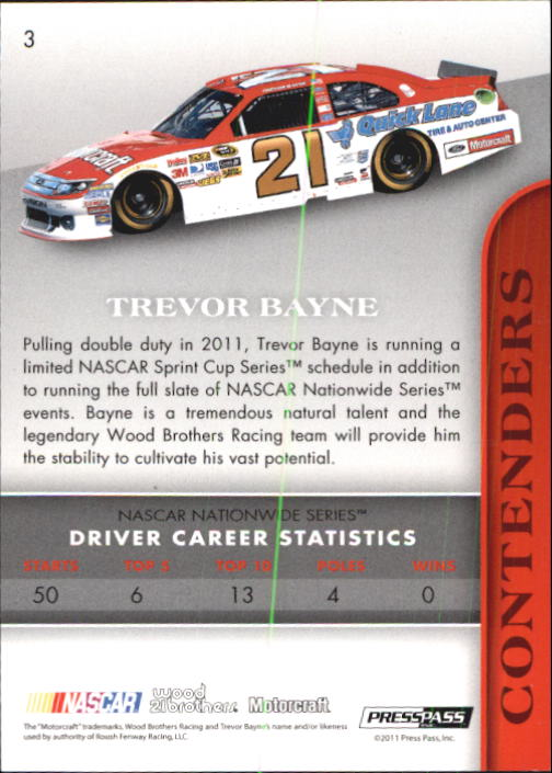 2011 Press Pass Premium #3B Trevor Bayne SP back image