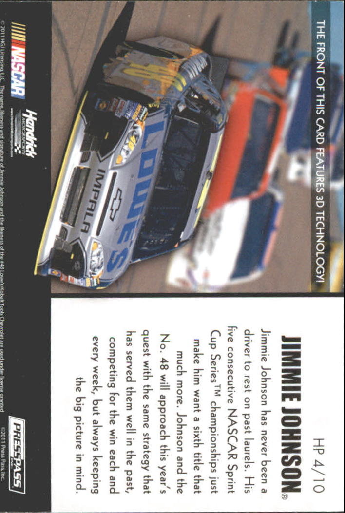 2011 Press Pass Premium Hot Pursuit 3D #HP4 Jimmie Johnson back image