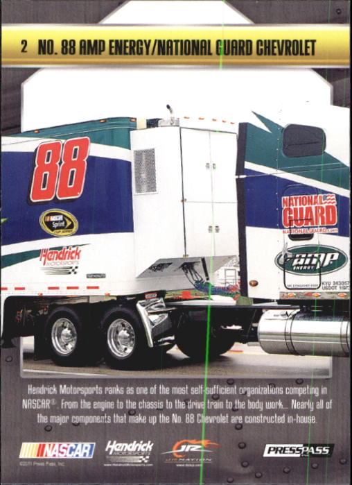 2011 Press Pass Stealth #2 Dale Earnhardt Jr.'s Car back image