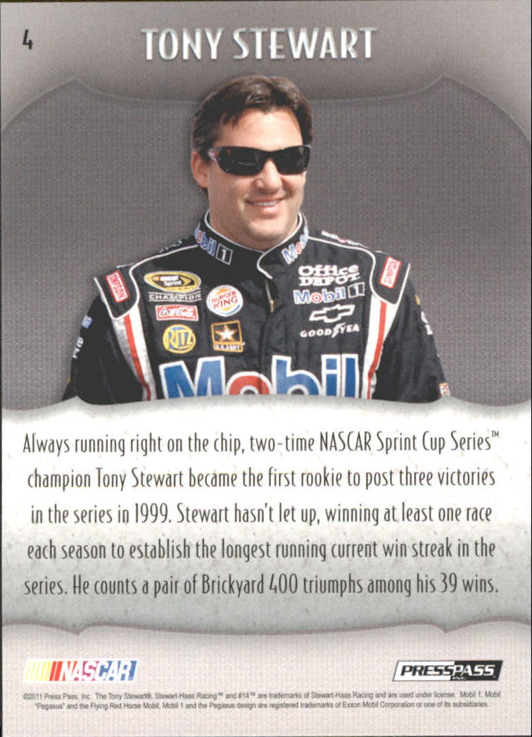 2011 Press Pass Showcase #4 Tony Stewart back image