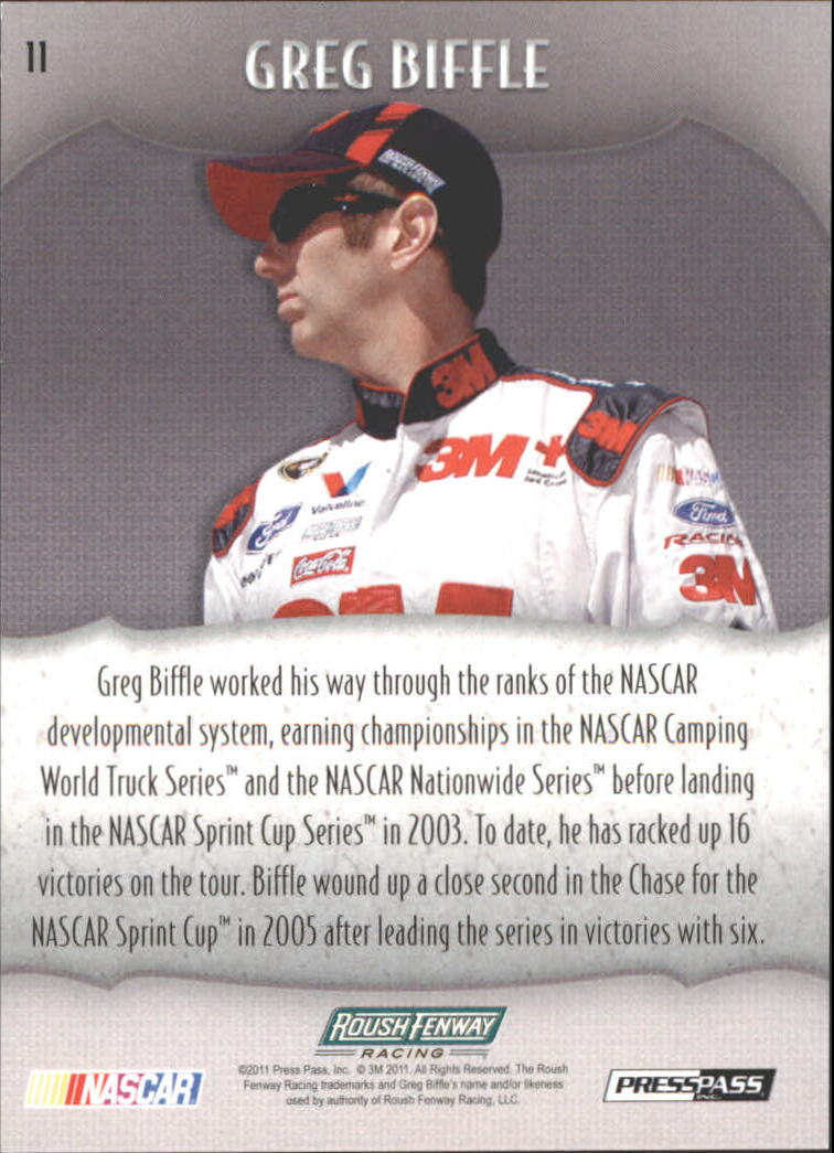 2011 Press Pass Showcase #11 Greg Biffle back image