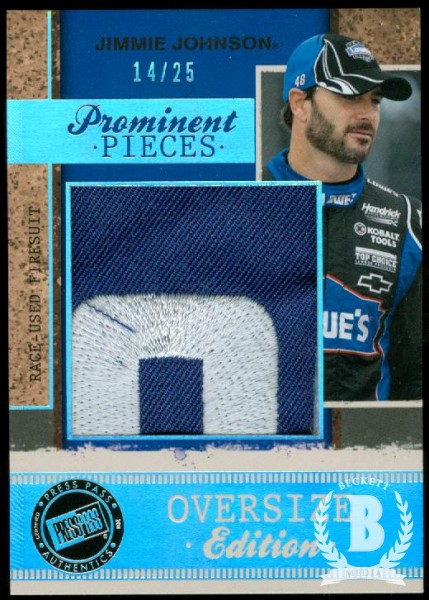 2011 Press Pass Legends Prominent Pieces Oversized Firesuit #PPOEJJ Jimmie Johnson