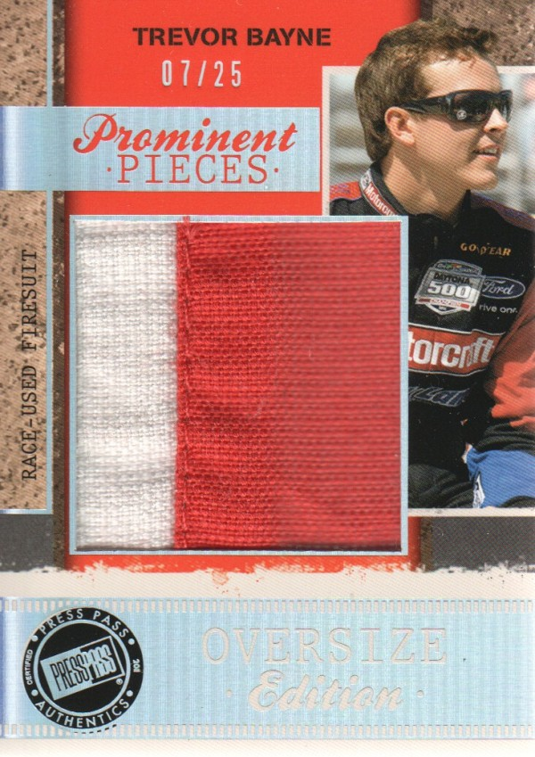 2011 Press Pass Legends Prominent Pieces Oversized Firesuit #PPOETB Trevor Bayne