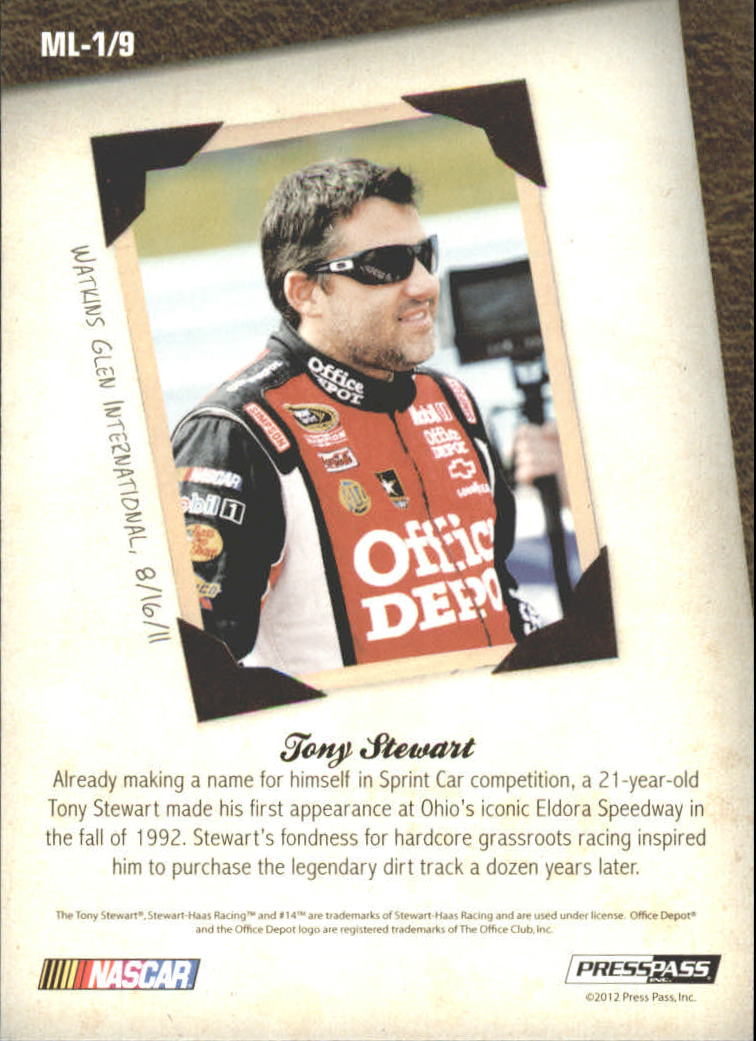 2012 Total Memorabilia Memory Lane #ML1 Tony Stewart back image