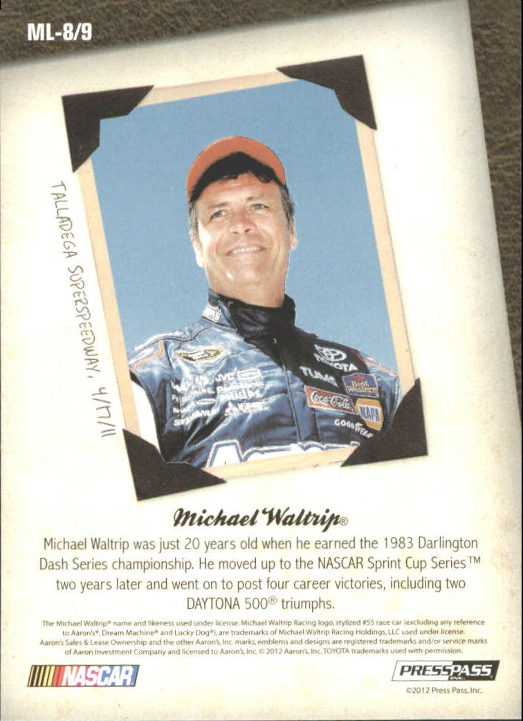 2012 Total Memorabilia Memory Lane #ML8 Michael Waltrip back image