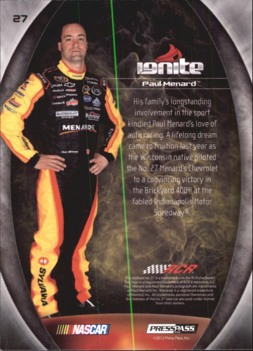 2012 Press Pass Ignite #27 Paul Menard back image