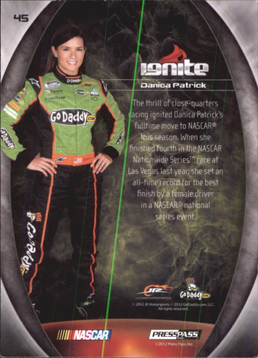 2012 Press Pass Ignite #45 Danica Patrick NNS back image