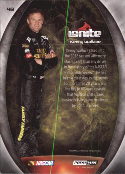 2012 Press Pass Ignite #48 Kenny Wallace NNS back image