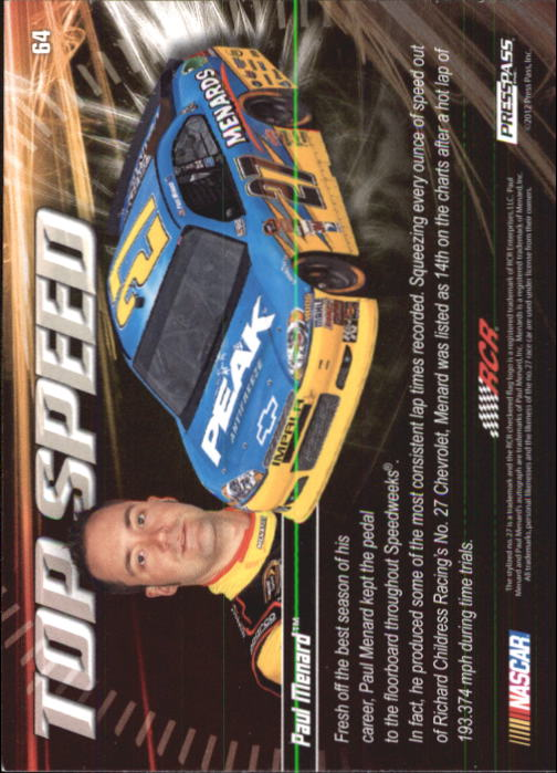 2012 Press Pass Ignite #64 Paul Menard's Car TS back image