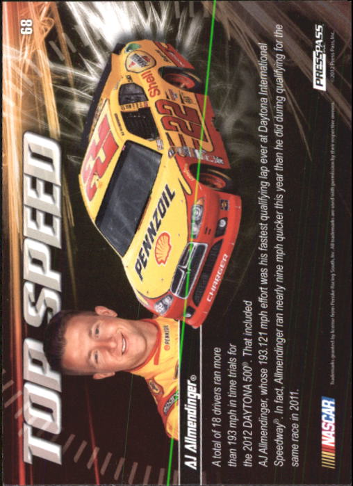 2012 Press Pass Ignite #68 A.J. Allmendinger's Car TS
