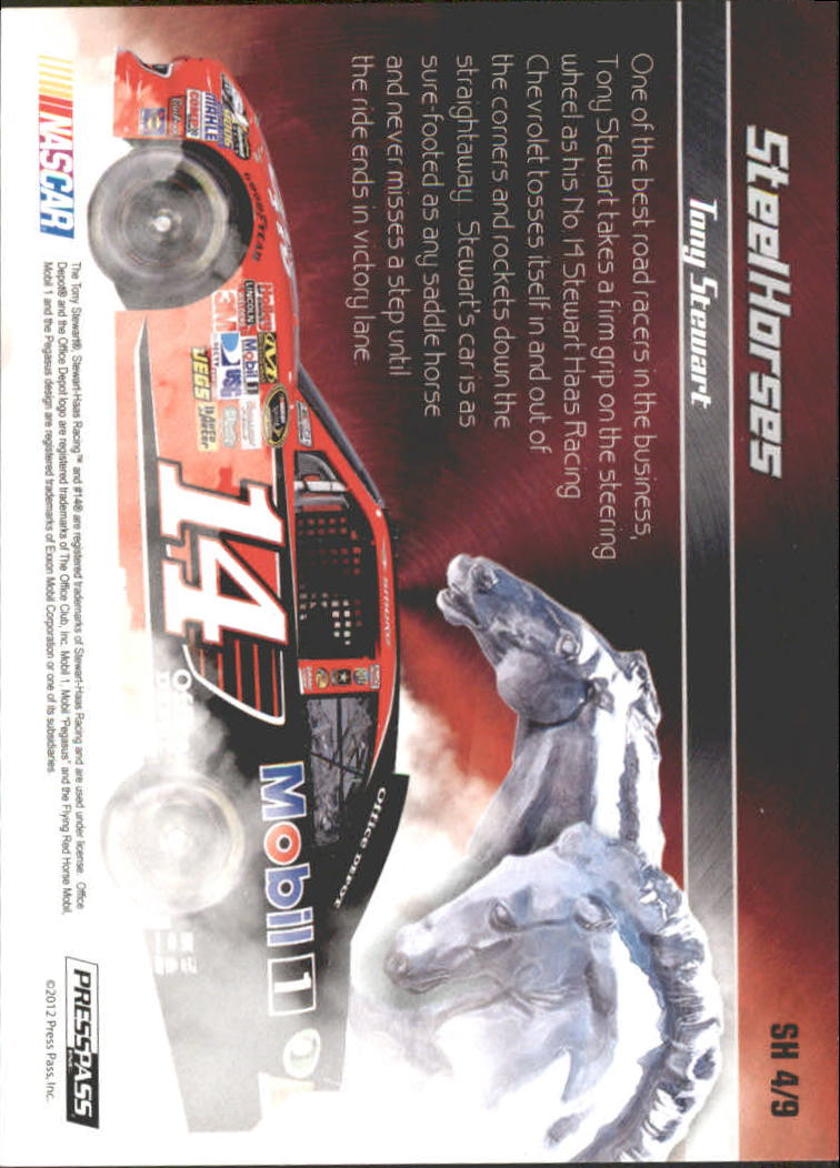 2012 Press Pass Ignite Steel Horses #SH4 Tony Stewart's Car back image