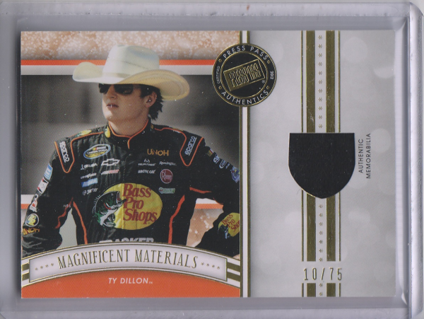 2012 Press Pass Fanfare Magnificent Materials Gold #MMTD Ty Dillon/75