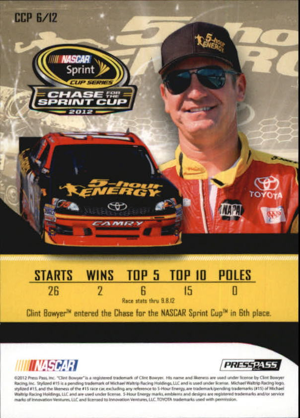 2012 Press Pass Cup Chase Prizes #CCP6 Clint Bowyer