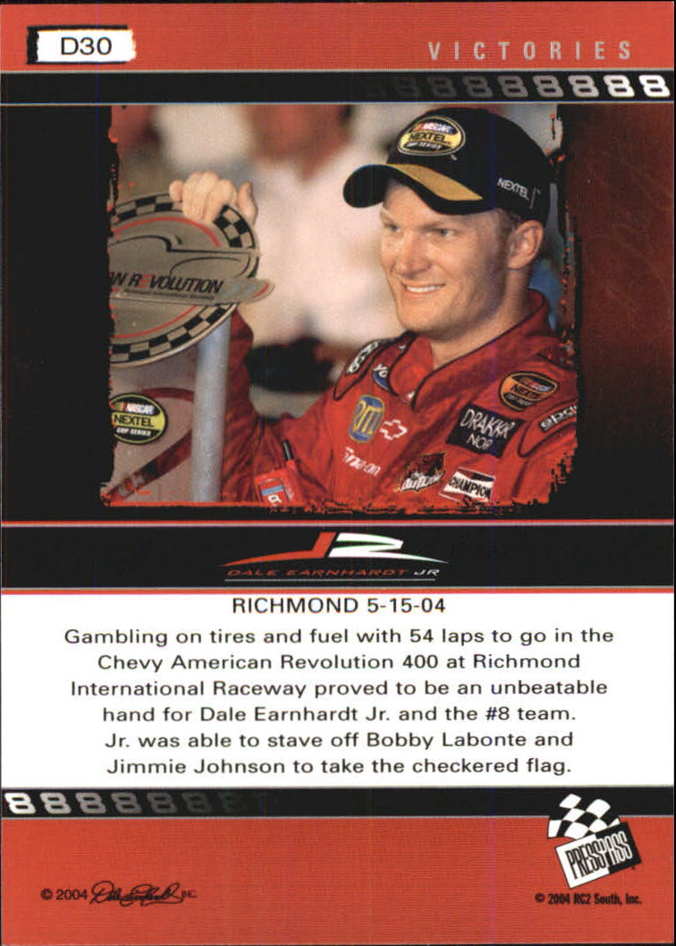 2004 Press Pass Dale Earnhardt Jr. Gold #D30 Dale Earnhardt Jr. V/Richmond '04