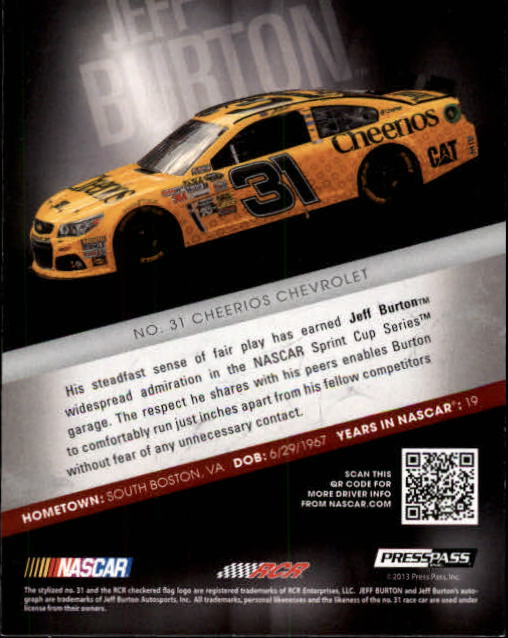 2013 Press Pass Redline #10 Jeff Burton