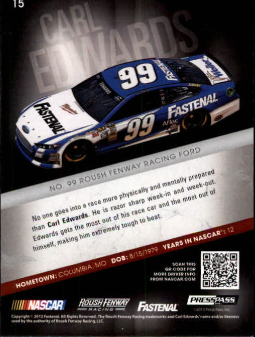 2013 Press Pass Redline #15 Carl Edwards