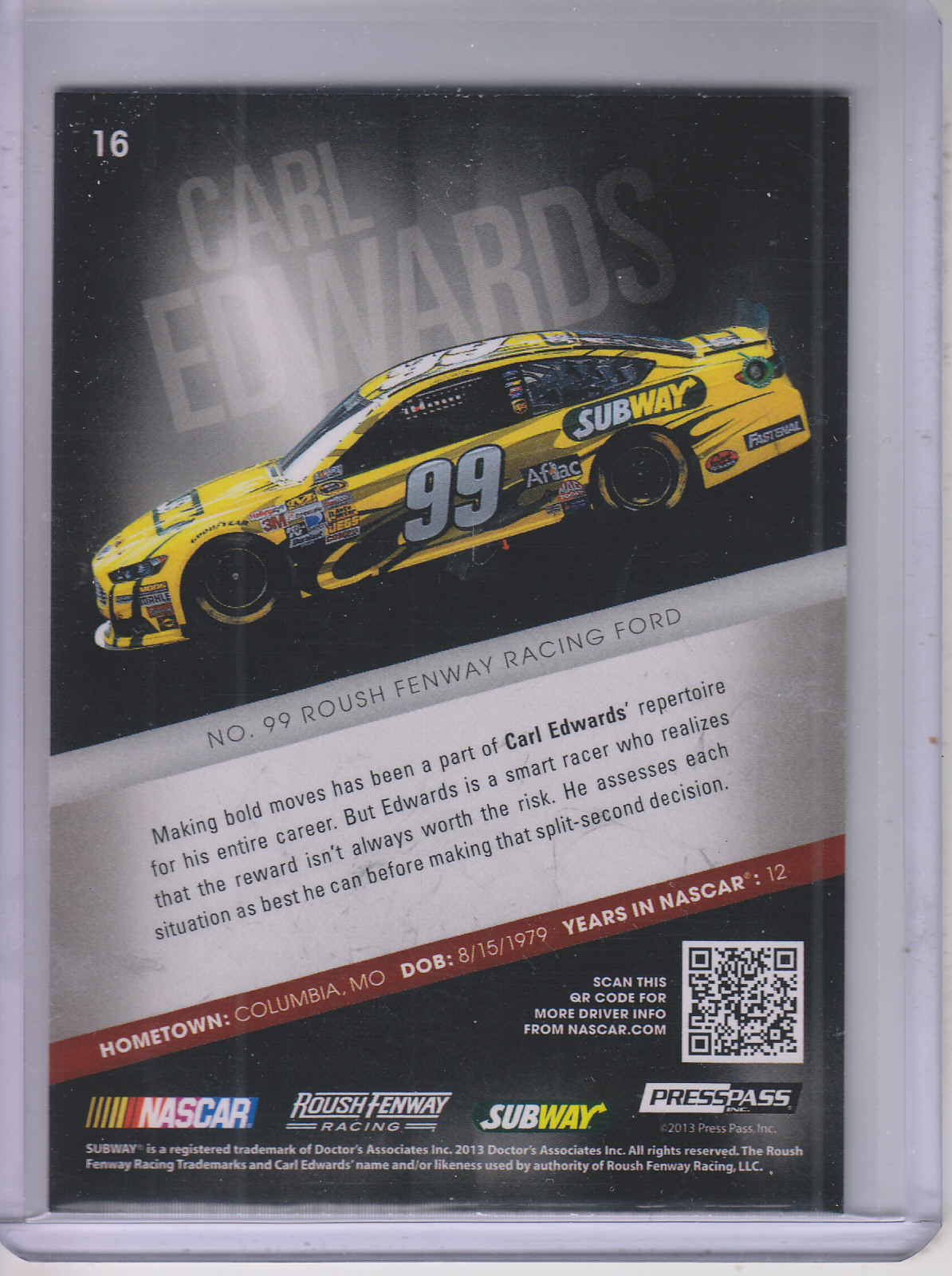 2013 Press Pass Redline #16 Carl Edwards
