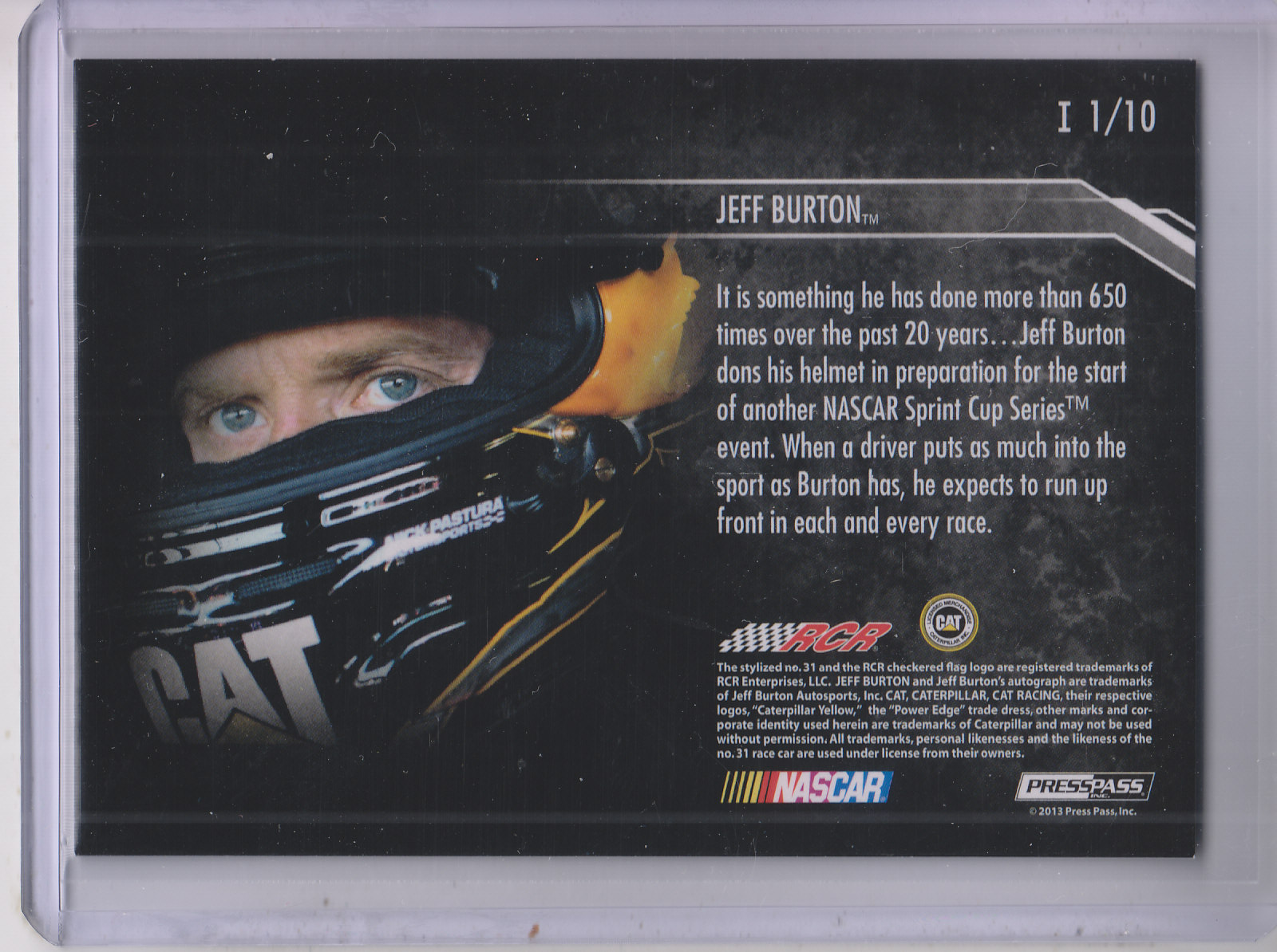 2013 Press Pass Redline Intensity #1 Jeff Burton