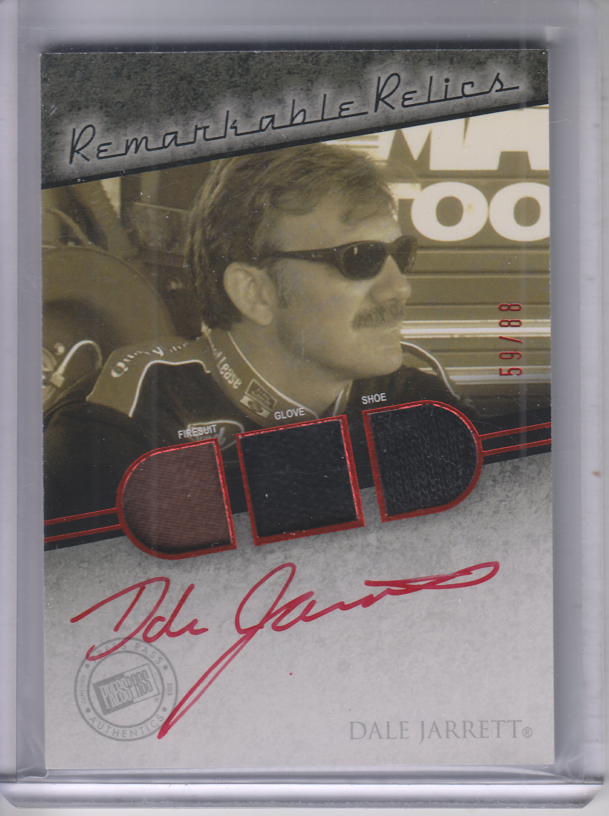 2013 Press Pass Redline Remarkable Relic Autographs Red #RMRDJ Dale Jarrett/88