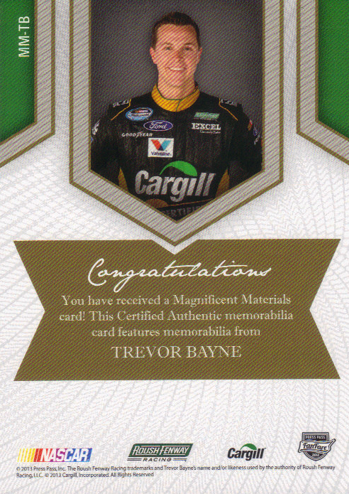 2013 Press Pass Fanfare Magnificent Materials Silver #TB2 Trevor Bayne/199