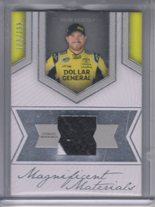 2013 Press Pass Fanfare Magnificent Materials Silver #BV Brian Vickers/199