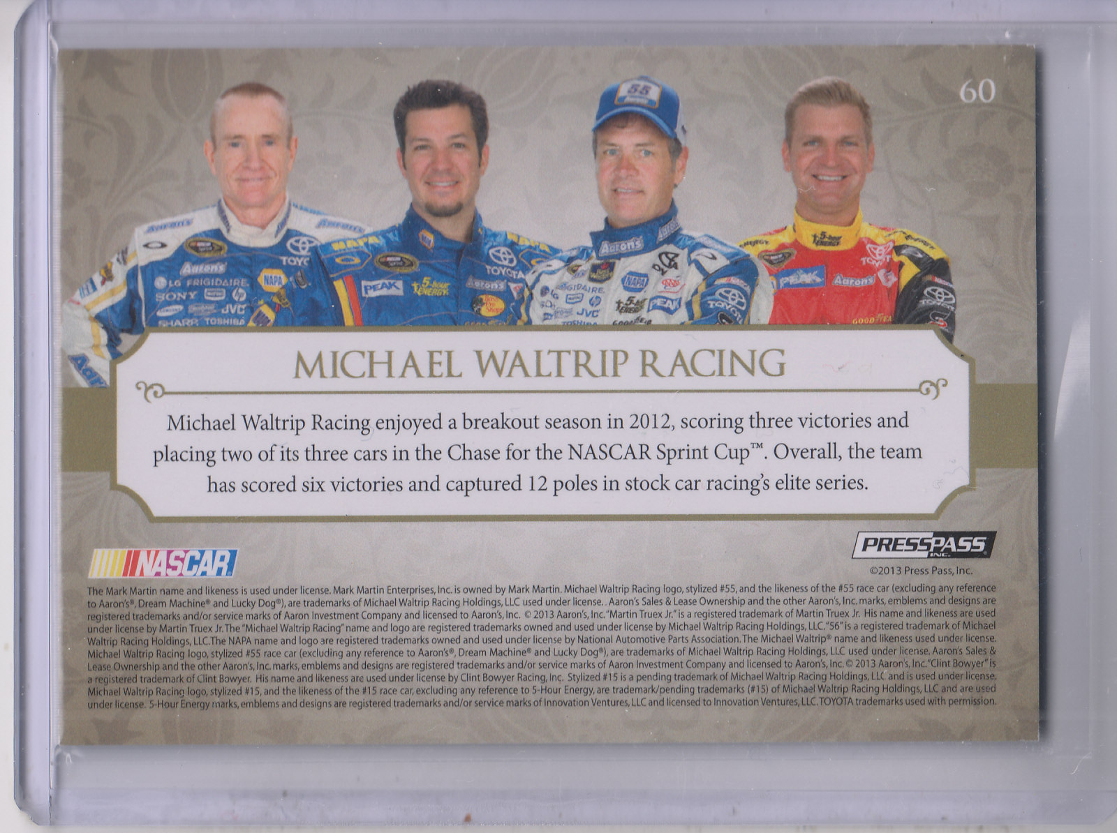 2013 Press Pass Showcase #60 Michael Waltrip Racing CC/Mark Martin/Martin Truex/Michael Waltrip/Clint Bowyer