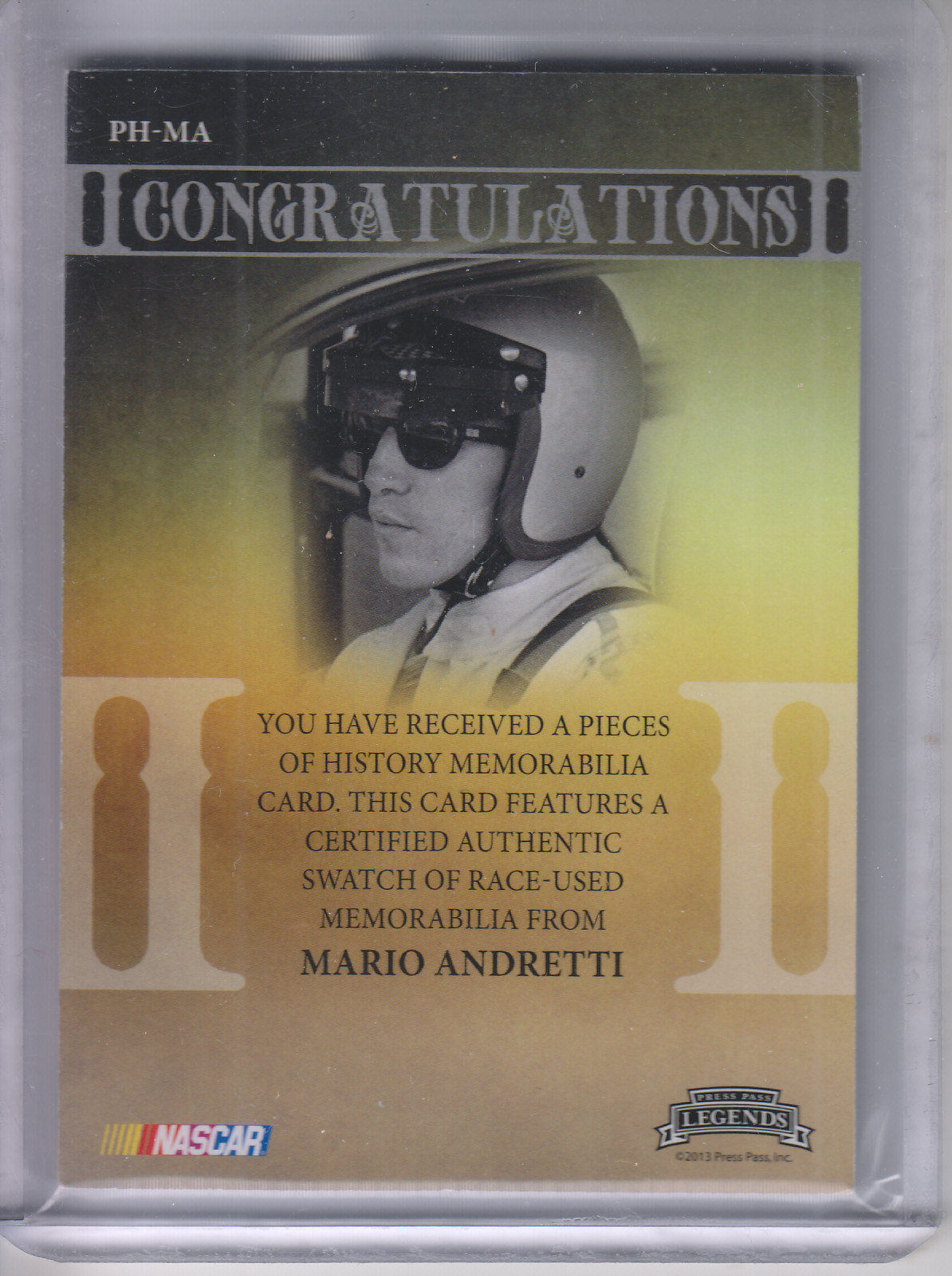 2013 Press Pass Legends Pieces of History Memorabilia Silver #PHMA Mario Andretti