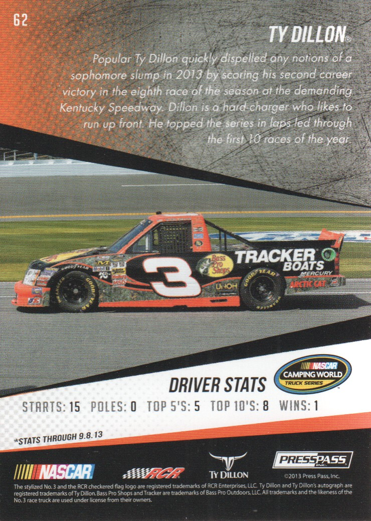 2014 Press Pass #62 Ty Dillon CWTS