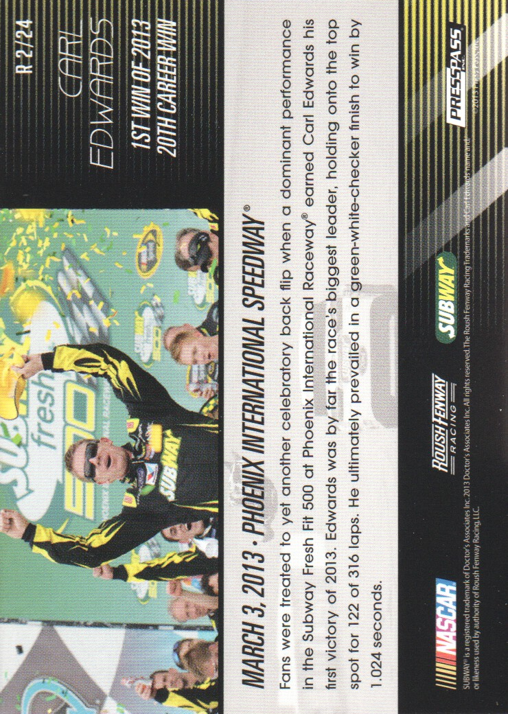 2014 Press Pass Replay #2 Carl Edwards
