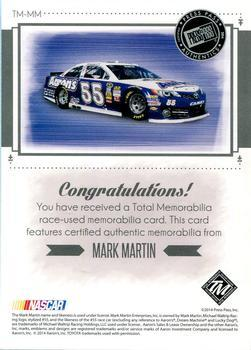 2014 Total Memorabilia Triple Swatch Blue #TMMM Mark Martin