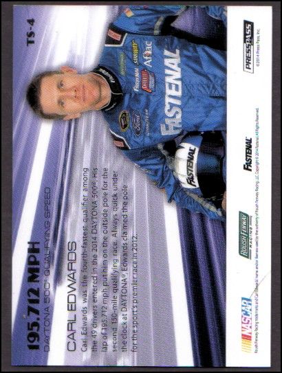 2014 Press Pass American Thunder Top Speed #TS4 Carl Edwards