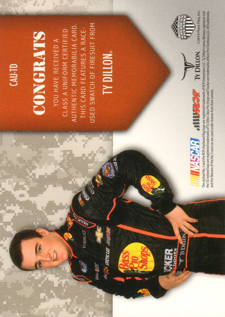 2014 Press Pass American Thunder Class A Uniforms Silver #CAUTD Ty Dillon