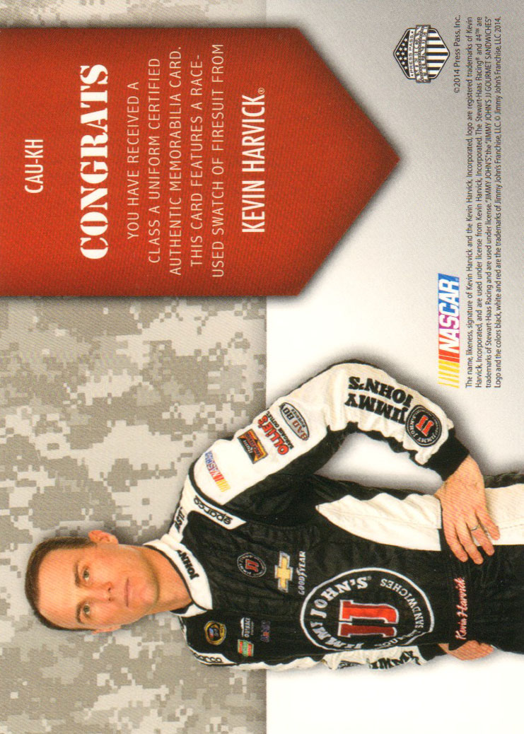 2014 Press Pass American Thunder Class A Uniforms Red #CAUKH Kevin Harvick