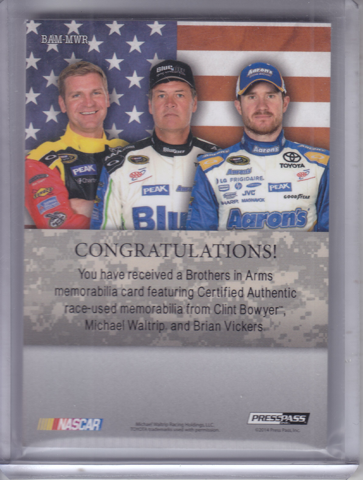 2014 Press Pass American Thunder Brothers In Arms Relics Silver #BAMWR Clint Bowyer/Michael Waltrip/Brian Vickers