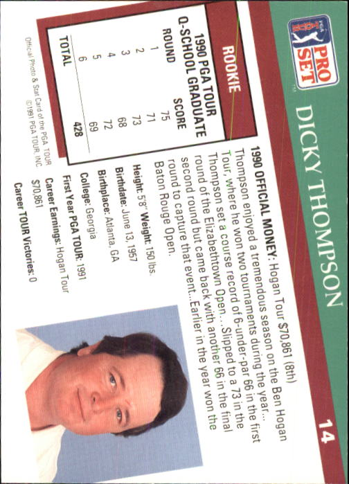 1991 Pro Set #14 Dicky Thompson RC back image