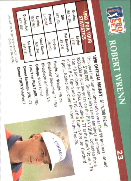 1991 Pro Set #23 Robert Wrenn RC