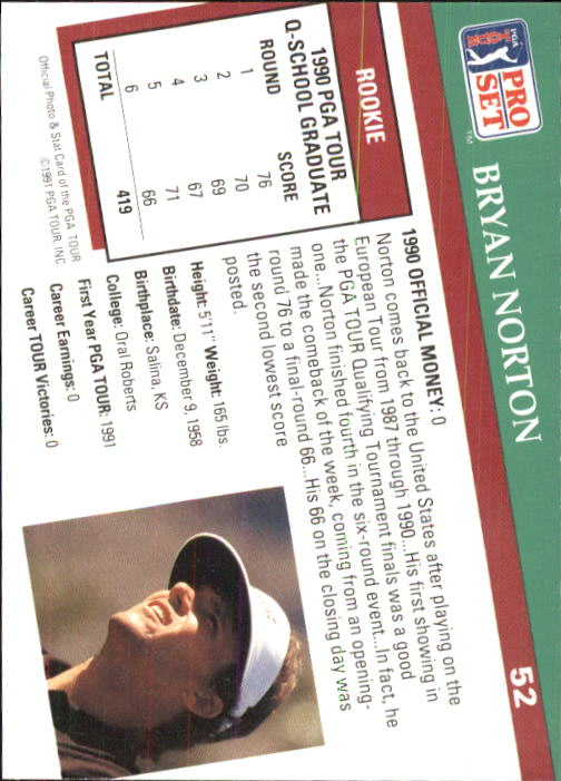 1991 Pro Set #52 Bryan Norton RC back image