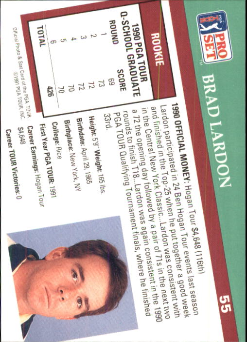 1991 Pro Set #55 Brad Lardon RC back image