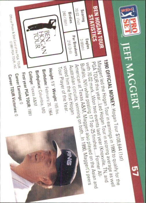 1991 Pro Set #57 Jeff Maggert RC back image