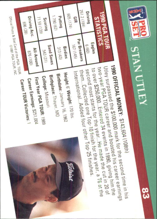 1991 Pro Set #83 Stan Utley RC back image