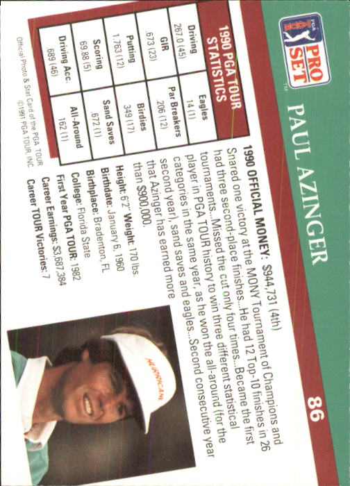 1991 Pro Set #86 Paul Azinger back image