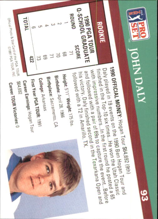 1991 Pro Set #93 John Daly RC back image