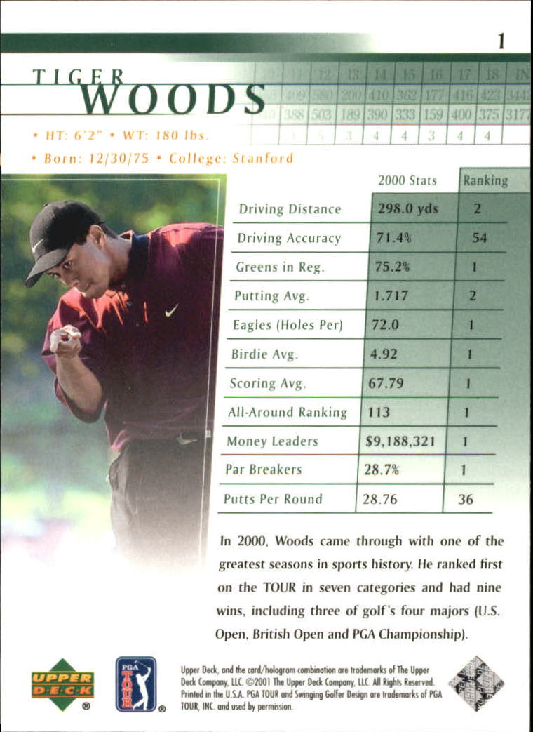 2001 Upper Deck #1 Tiger Woods RC back image