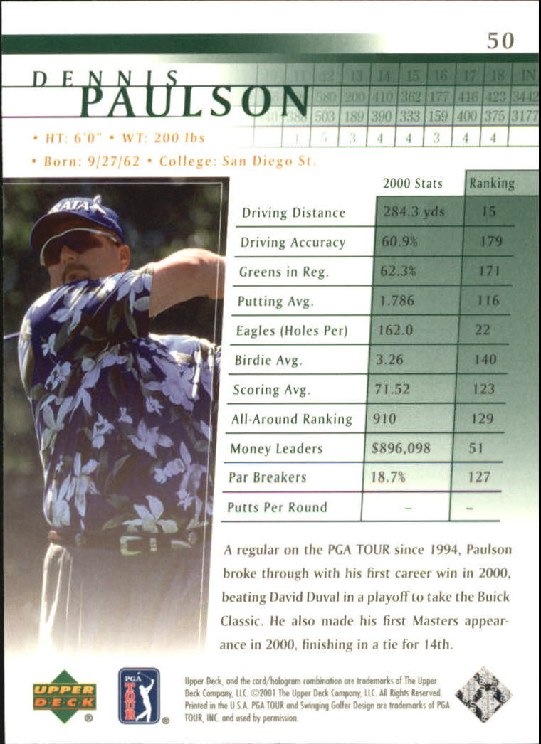 2001 Upper Deck #50 Dennis Paulson RC back image