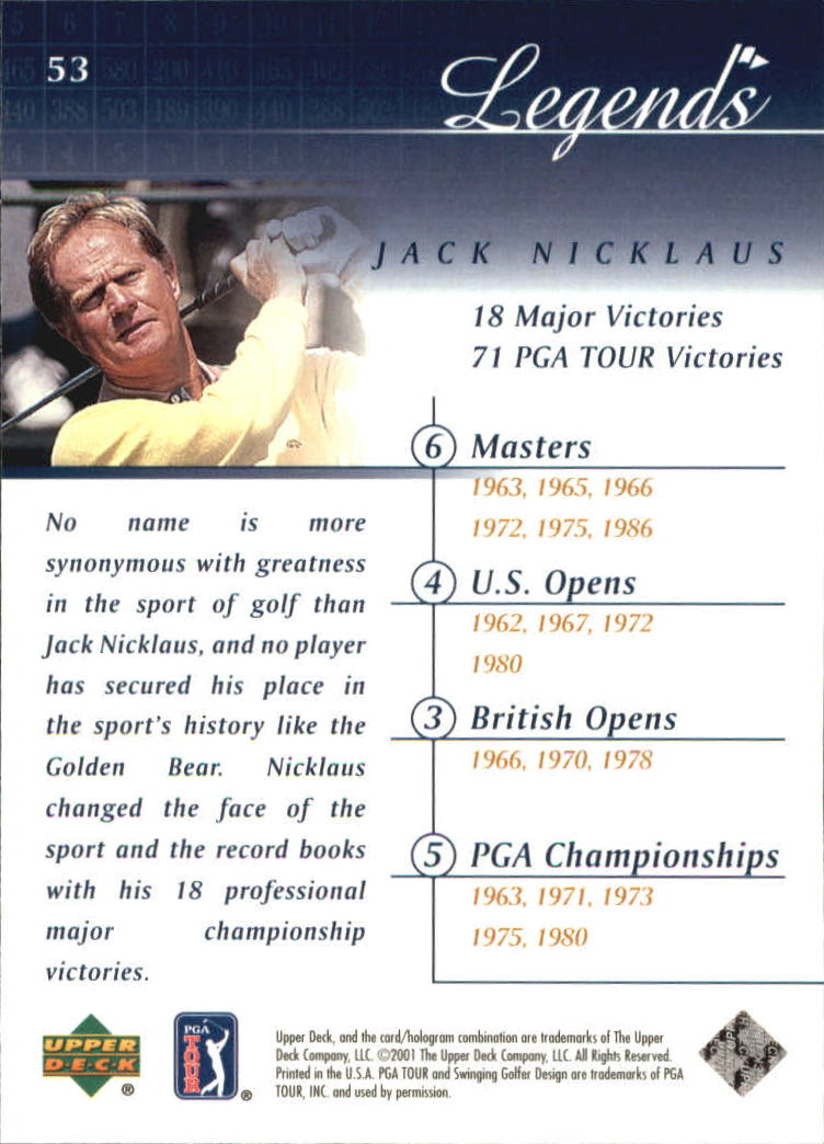 2001 Upper Deck #53 Jack Nicklaus back image