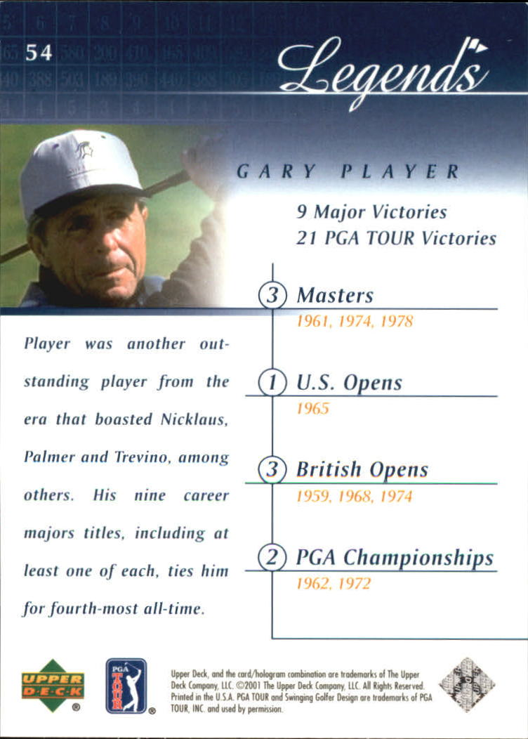 2001 Upper Deck #54 Gary Player back image