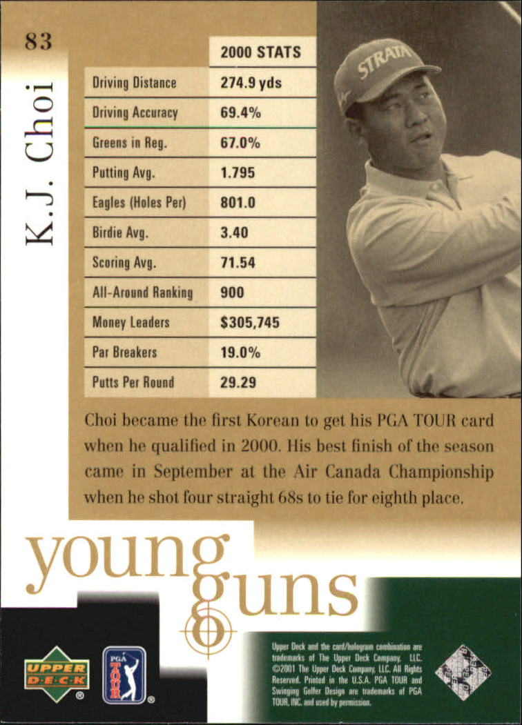 2001 Upper Deck #83 K.J. Choi YG RC back image