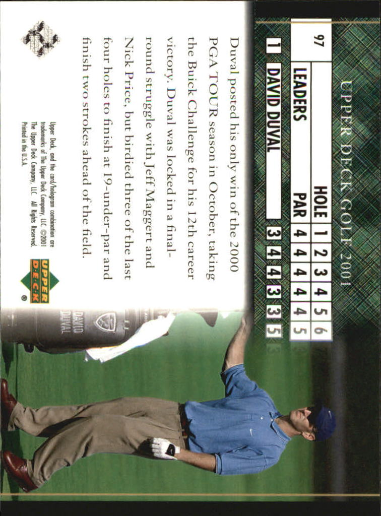 2001 Upper Deck #97 David Duval LB back image