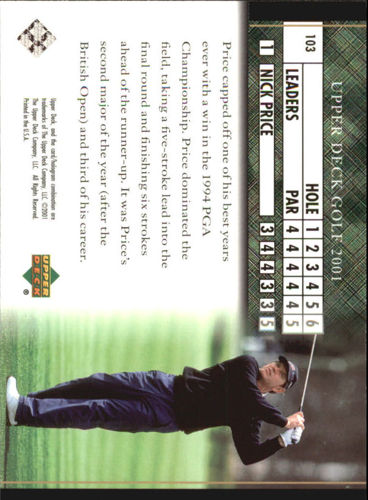 2001 Upper Deck #103 Nick Price LB back image